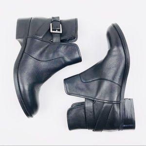 Crown Vintage Ankle Boots Block Heel Buckle Boots